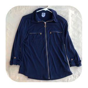 Anne Klein Navy Zip Up Shirt Size Small